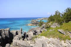 Tropical rocky coastline Stock Images