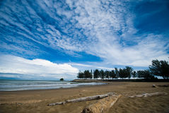 Tropical sand beach. With blue sky at Brunei Stock Photo