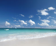 Tropical  Sand Beach and Caribben Ocean Royalty Free Stock Photography