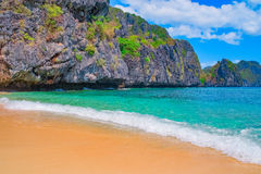 Tropical sand beach. Palawan, Philippines, Southeast Asia Royalty Free Stock Photography
