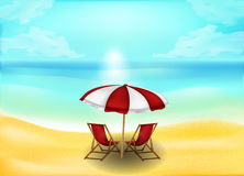 Tropical sand beach and sea or ocean background stock photo