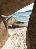 Tropical sand beach on Seychelles islands Royalty Free Stock Images
