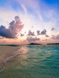 Tropical Sand Beach at Sunset, Maldives Stock Photo
