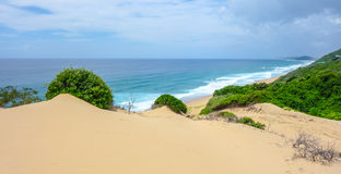 Tropical sand dunes view in Mozambique coastline. Tropical ocean view with sand dunes near Ponta do Ouro in Mozambique coastline Stock Photos