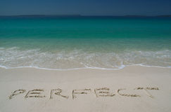 Tropical Sandy Beach With. Perfect Inscription on Sand. Straight View royalty free stock photo