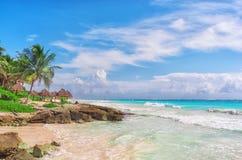 Tropical Sandy Beach on Caribbean Sea. Mexico. Tropical Sandy Beach on Caribbean Sea. Yucatan, Mexico Stock Images