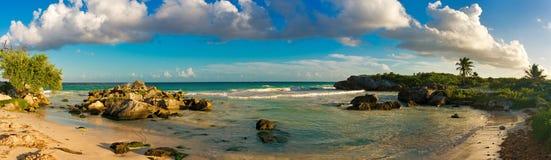 Tropical Sandy Beach on Caribbean Sea. Mexico. Royalty Free Stock Photos