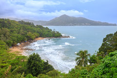 Tropical sandy beach landscape from high view point. Beautiful turquoise ocean and people relaxing in Laem Sing Stock Photography
