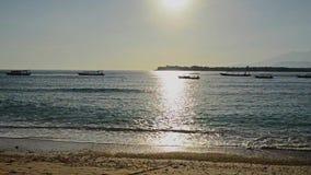 Tropical sandy beach in the morning. At Gili Trawangan Indonesia stock footage