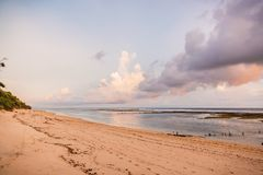 Tropical sandy beach and ocean at low tide in Bali at sunset royalty free stock images