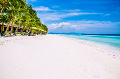 Tropical sandy beach at Panglao Bohol island with Sme Beach chairs under palm trees. Travel Vacation. Philippines Stock Images