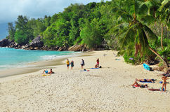 Tropical sandy beach on Seychelles islands Royalty Free Stock Photo