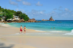 Tropical sandy beach on Seychelles islands Stock Images