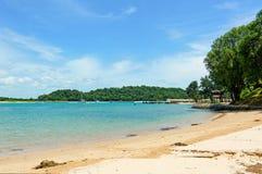 Tropical sandy beach of St John Island, Singapore Stock Images