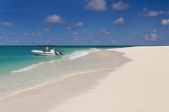 Tropical sandy beach at summer day Stock Images