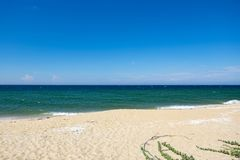 tropical sandy beach at sunny day.blue sky and torquise sea water Stock Photos