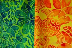 Tropical sarong on display in Rarotonga market Cook Islands. Traditional fabric patterns worn by Polynesians and other South Pacific Islanders and Oceanic royalty free stock image