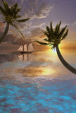 Tropical Scene. With palms and sail boat Stock Photo