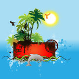 Tropical scene banner. For your message Stock Images
