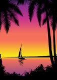 Tropical scene with sailboat. Beautiful tropical seascape – vector illustration royalty free illustration