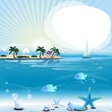 Tropical scene with underwater life and text place Royalty Free Stock Photography