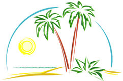 Tropical Scene (Vector). Vector illustration isolated on white background - Tropical scene Stock Photos
