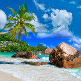 Tropical scenery. Idyllic tropical scenery - beautiful Seychelles Royalty Free Stock Photo