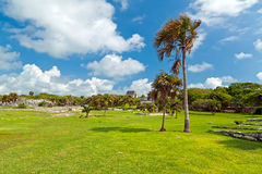 Tropical scenery of Tulum in Mexico. Archaeological ruins of Tulum in Mexico Royalty Free Stock Images