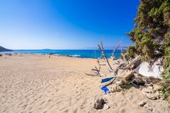 The tropical and scenic nudist beach of Agios Ioannis on Gavdos island. The tropical and scenic nudist beach of Agios Ioannis on Gavdos island, Greece royalty free stock photos