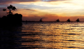 Tropical Sea At Sunset Royalty Free Stock Photo