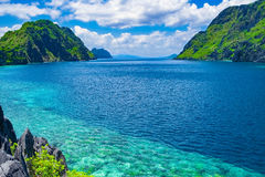 Tropical sea bay, El Nido, Palawan, Philippines. Beautiful tropical sea bay. Scenic landscape with mountain islands and blue lagoon, El Nido, Palawan Royalty Free Stock Photos