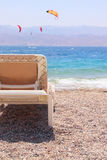 Tropical sea beach and chaise lounger. Summer travel and vacation concept. Photo of tropical sea beach and chaise lounger. Summer travel and vacation concept royalty free stock photography
