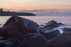 Tropical sea beach at Koh Chang island during sunset Stock Photos