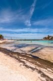 Tropical sea and Cancun coastline view from Isla Mujeres Stock Image