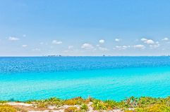 Tropical sea and Cancun coastline view from Isla Mujeres Royalty Free Stock Photography