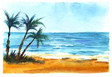 Tropical sea coast. Azure sea, blue sky. Bright sand. Three dark silhouettes of a palm tree. Hand-drawn watercolor illustration on texture paper stock image