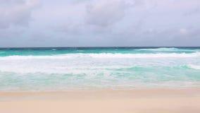 Tropical sea coastline at La Dique, Seychelles. Island stock footage
