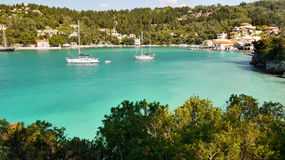 Tropical sea, Exotic Holidays. A beautiful azure lagoon - Exotic Holidays. Paxos island Royalty Free Stock Photos