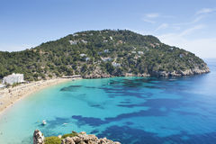 Tropical sea in ibiza. Aerial view of a tropical beach in spain Stock Image