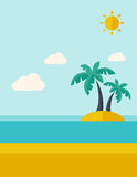 Tropical sea island with palm trees. Stock Images