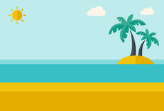 Tropical sea island with palm trees. Royalty Free Stock Photography