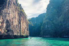 Tropic sea island rocks. Tropical sea island rock, Thailand krabi shore line, sand stock photos