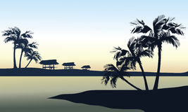 Tropical sea landscape. Tropical sea and gazebo landscape a beautiful Royalty Free Stock Photo