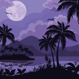 Tropical sea landscape with moon and palm Royalty Free Stock Photo