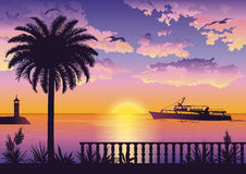 Tropical Sea Landscape with Palm and Ship Stock Images