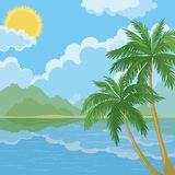 Tropical sea landscape with palm trees Stock Image