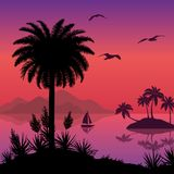 Tropical sea landscape with palms and ship Royalty Free Stock Photo