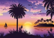 Tropical sea landscape with palms and ship Royalty Free Stock Photos