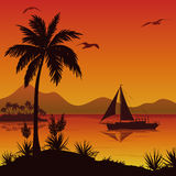 Tropical Sea Landscape with Palms and Ship Royalty Free Stock Photography