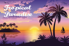 Tropical Sea Landscape with Palms and Ship Royalty Free Stock Image